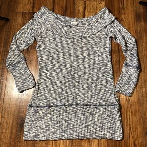 Heathered navy and white tunic sweater small